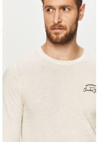 Biała koszulka z długim rękawem Jack & Jones z nadrukiem, na co dzień, z okrągłym kołnierzem