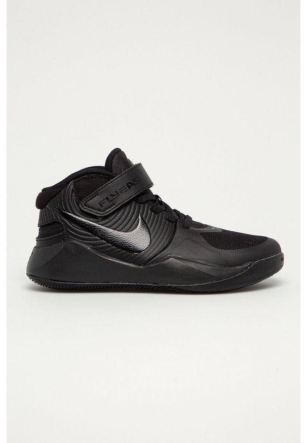 Czarne buty sportowe Nike Kids na rzepy, z cholewką, z okrągłym noskiem