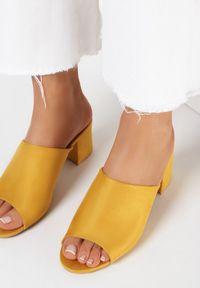 Born2be - Żółte Klapki Usinyera. Nosek buta: otwarty. Kolor: żółty. Materiał: skóra ekologiczna. Wzór: gładki. Obcas: na słupku