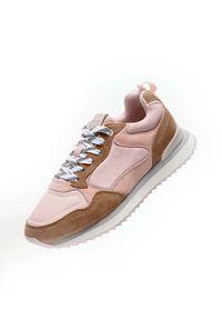 HOFF - Różowe sneakersy z nubuku Brussels. Kolor: brązowy. Materiał: nubuk. Wzór: nadruk, aplikacja