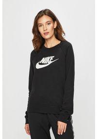 Czarna bluza Nike Sportswear z nadrukiem, casualowa, na co dzień, bez kaptura