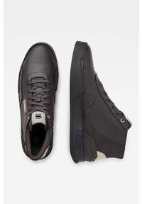 Szare sneakersy G-Star RAW z okrągłym noskiem, na sznurówki, z cholewką