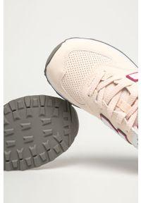 Różowe buty sportowe New Balance na sznurówki, z cholewką, z okrągłym noskiem