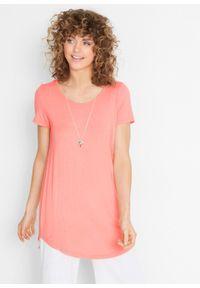 Długi shirt, krótki rękaw bonprix jasny koralowy. Kolor: pomarańczowy. Materiał: wiskoza. Długość rękawa: krótki rękaw. Długość: krótkie. Wzór: gładki