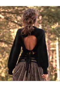 BY CABO - Wiązany sweter wełniany Adonis. Kolor: czarny. Materiał: wełna. Długość rękawa: długi rękaw. Długość: długie