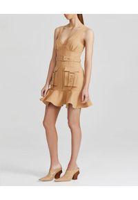 ACLER - Beżowa sukienka mini Vermont. Kolor: beżowy. Materiał: tkanina, len, bawełna. Długość rękawa: na ramiączkach. Wzór: kolorowy. Sezon: lato. Typ sukienki: dopasowane. Styl: elegancki. Długość: mini