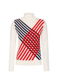 Biały sweter Perfect Moment w geometryczne wzory, retro