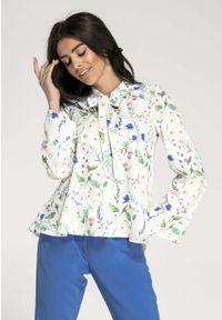 Biała bluzka z długim rękawem Nommo w kwiaty