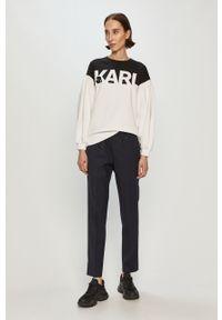 Biała bluza Karl Lagerfeld z długim rękawem, bez kaptura, klasyczna