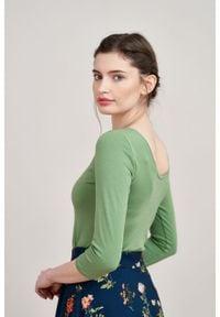 Marie Zélie - Bluzka Lovoa zieleń wiosenna. Materiał: bawełna, dzianina, materiał, elastan, skóra. Sezon: wiosna