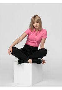 Różowa koszulka polo 4f polo, z krótkim rękawem