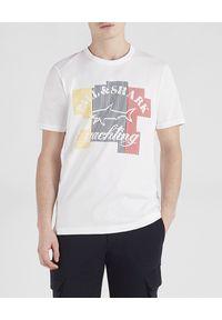 PAUL & SHARK - Biały t-shirt z nadrukiem. Kolor: biały. Materiał: bawełna. Wzór: nadruk. Styl: klasyczny, sportowy