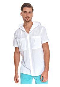 TOP SECRET - Koszula z lekkiej tkaniny z kapturem. Okazja: na spacer. Typ kołnierza: kaptur. Kolor: biały. Materiał: tkanina. Długość rękawa: krótki rękaw. Długość: krótkie. Styl: wakacyjny