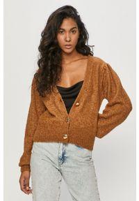 Brązowy sweter rozpinany TALLY WEIJL długi, z długim rękawem