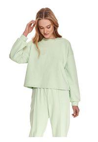 TOP SECRET - Luźna nierozpinana bluza damska. Kolor: zielony. Materiał: dzianina. Długość rękawa: długi rękaw. Długość: długie. Sezon: lato. Styl: sportowy