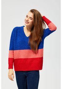 Sweter MOODO z dekoltem w serek, z długim rękawem, w paski