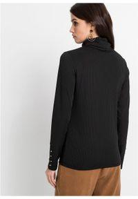 Czarna bluzka bonprix z długim rękawem, z golfem, w prążki