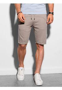 Ombre Clothing - Krótkie spodenki męskie dresowe W299 - popielate - XXL. Kolor: szary. Materiał: dresówka. Długość: krótkie