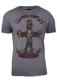 Ciemnoliliowa Męska Koszulka (T-shirt) - Brave Soul - Trupie Czaszki na Krzyżu. Okazja: na co dzień. Materiał: bawełna. Wzór: nadruk. Styl: casual