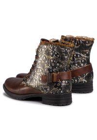 Brązowe buty trekkingowe Laura Vita z cholewką, z aplikacjami