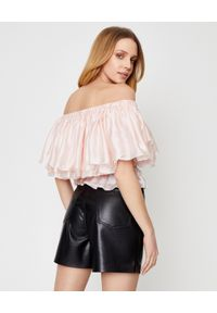 ALEXANDRE VAUTHIER - Jedwabna bluzka z falbaną. Kolor: wielokolorowy, różowy, fioletowy. Materiał: jedwab