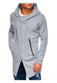 Ombre Clothing - Bluza męska rozpinana z kapturem B668 HUGO - szara - XXL. Typ kołnierza: kaptur. Kolor: szary. Materiał: poliester, bawełna. Styl: klasyczny, elegancki