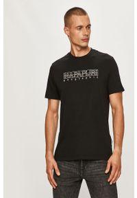 Czarny t-shirt Napapijri z okrągłym kołnierzem, casualowy, z aplikacjami, na co dzień