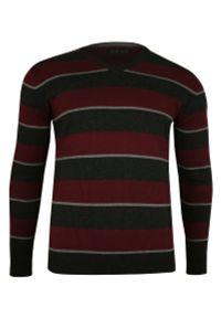 Czerwony sweter Elkjaer w paski, casualowy, na co dzień, z dekoltem w kształcie v