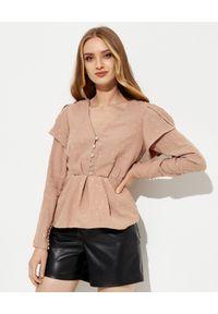 SELF PORTRAIT - Beżowa bluzka z krepy z kryształami. Kolor: beżowy. Materiał: tkanina. Długość rękawa: długi rękaw. Długość: długie. Wzór: aplikacja. Styl: glamour, elegancki
