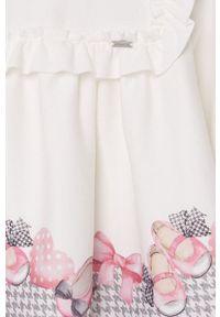 Różowa sukienka Mayoral mini, rozkloszowana, z długim rękawem, z nadrukiem
