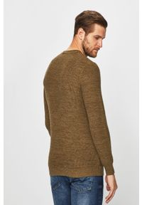 Oliwkowy sweter Blend casualowy, z okrągłym kołnierzem, na co dzień