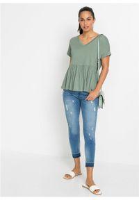 Shirt z falbaną bonprix dymny zielony. Kolor: zielony. Styl: elegancki