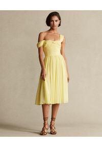 Ralph Lauren - RALPH LAUREN - Żółta sukienka na ramiączkach. Typ kołnierza: polo. Kolor: żółty. Materiał: materiał. Długość rękawa: na ramiączkach #1