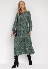 Born2be - Zielona Sukienka Doroinne. Kolor: zielony. Materiał: zamsz. Długość rękawa: długi rękaw. Wzór: kwiaty, aplikacja, nadruk. Styl: klasyczny. Długość: maxi