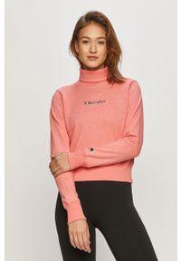 Różowa bluza Champion z golfem, casualowa, z długim rękawem