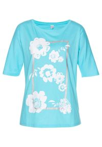 Niebieska bluzka bonprix długa, w kwiaty, z długim rękawem