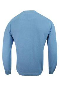 Niebieski sweter Adriano Guinari klasyczny, do pracy
