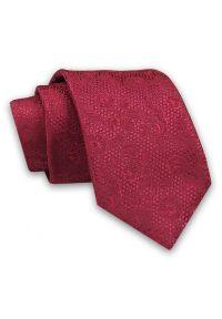 Alties - Bordowy Elegancki Męski Krawat -ALTIES- 7cm, Stylowy, Klasyczny, w Tłoczony Wzór w Kwiaty. Kolor: czerwony. Materiał: tkanina. Wzór: kwiaty. Styl: klasyczny, elegancki
