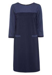 Sukienka z dżerseju, rękawy 3/4 bonprix ciemnoniebiesko-biały. Kolor: niebieski. Materiał: jersey. Wzór: grochy