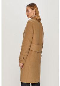 Beżowy płaszcz Calvin Klein na co dzień, casualowy, bez kaptura