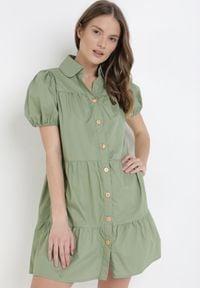 Born2be - Zielona Sukienka Nymola. Kolor: zielony. Materiał: bawełna. Typ sukienki: koszulowe. Długość: mini