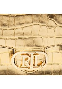 Złota torebka klasyczna Lauren Ralph Lauren skórzana