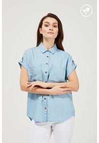 MOODO - Koszula lyocell. Materiał: lyocell. Długość rękawa: krótki rękaw. Długość: krótkie. Wzór: gładki