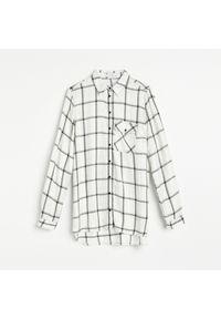 Reserved - Wiskozowa koszula w kratę - Kremowy. Kolor: kremowy. Materiał: wiskoza