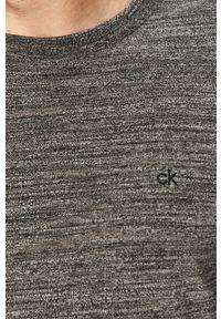 Czarna koszulka z długim rękawem Calvin Klein casualowa, melanż, na co dzień