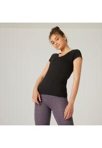 NYAMBA - Koszulka z krótkim rękawem damska Nyamba Gym & Pilates. Kolor: czarny. Materiał: elastan, poliester, materiał, lyocell, bawełna. Długość rękawa: krótki rękaw. Długość: krótkie. Wzór: ze splotem. Sport: joga i pilates