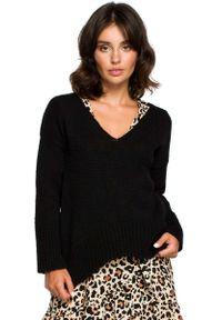 Czarny sweter oversize MOE elegancki, z dekoltem w serek, długi