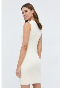 TwinSet - Twinset - Sukienka i sweter. Okazja: na co dzień. Kolor: beżowy. Materiał: dzianina, koronka. Długość rękawa: długi rękaw. Wzór: gładki. Typ sukienki: proste. Styl: casual