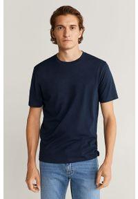 Niebieski t-shirt Mango Man z okrągłym kołnierzem