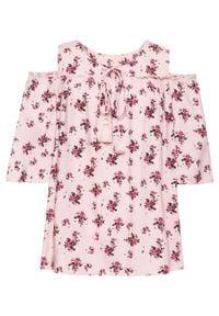 Bluzka cold-shoulder bonprix dymny jasnoróżowy z nadrukiem. Kolor: fioletowy. Wzór: nadruk